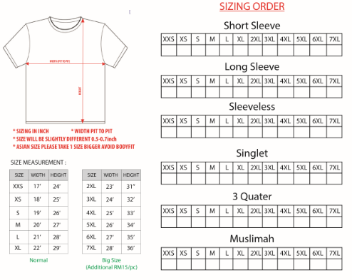 Sizing of Jersey